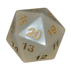 Jumbo Transparent D20 (Pearl w/ Gold)