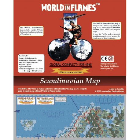 World in Flames Collector's Edition Scandinavian Mounted Map