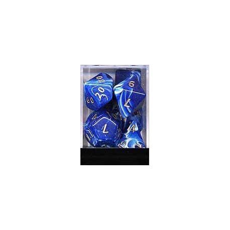 Boite de 7 dés JUMBO gemmes bleues