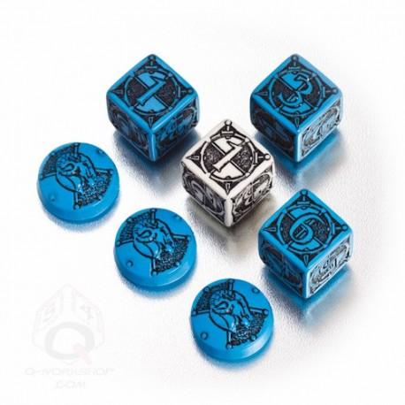 dés et jetons pour Kingsburg - bleus et noirs