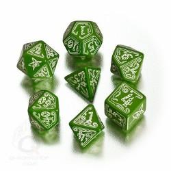 set de dés Appel de Cthulhu verts fluorescents