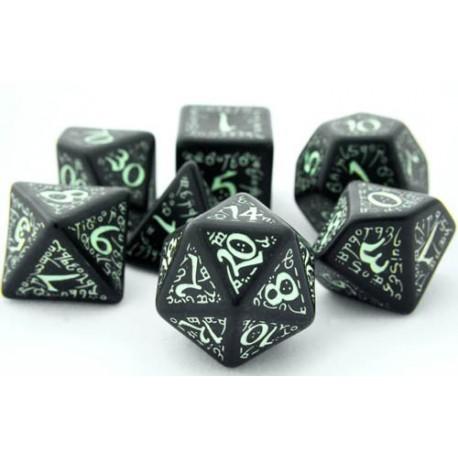 set de 7 dés elfiques phosphorescents