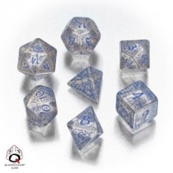 transparent & blue elvish dice