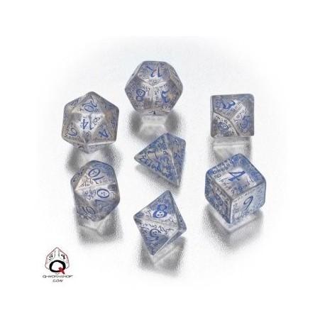 Set de dés elfiques transparents et bleus